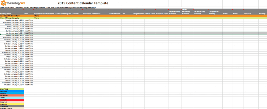 2019 Content Marketing Editorial Calendar Template 2019
