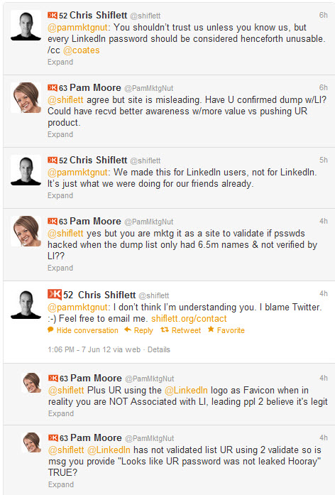 LinkedIn Twitter Hacked @Shiflett Conversation