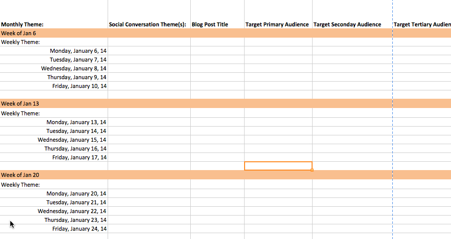 Content Marketing Editorial Calendar Template 2014 | Pam Moore