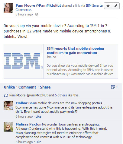 ibm smarter commerce Facebook status update