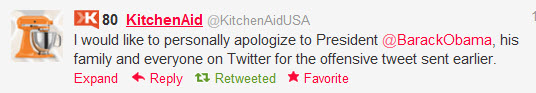 kitchenaid obama apology