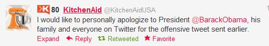 kitchenaid obama apology