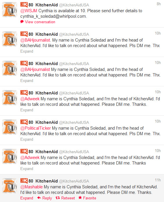 kitchenaid Obama media response availability