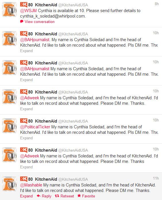 kitchenaid Obama media response availability