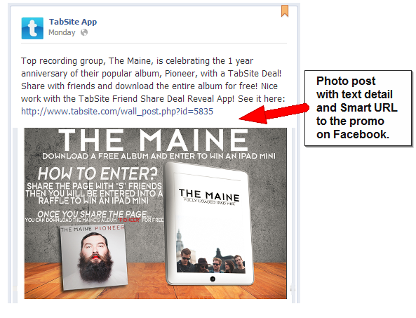 tabsite post image with text smart url How to Post for Maximum Engagement to your Facebook News Feed