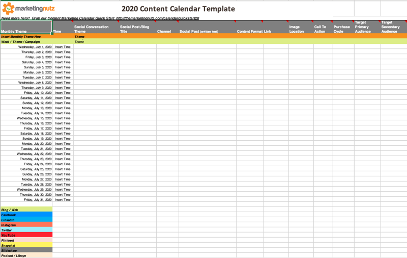2020 Content Calendar Template Sample Screen Capture