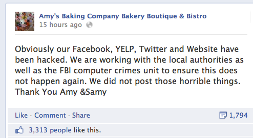 Amys Baking Company Claim they Were Hacked
