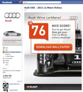 got klout? audi facebook page involver application