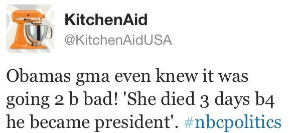 kitchenaid Obama tweet