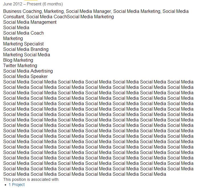 LinkedIn stuffed profiles