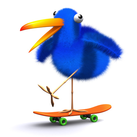 3d Blue bird skateboard
